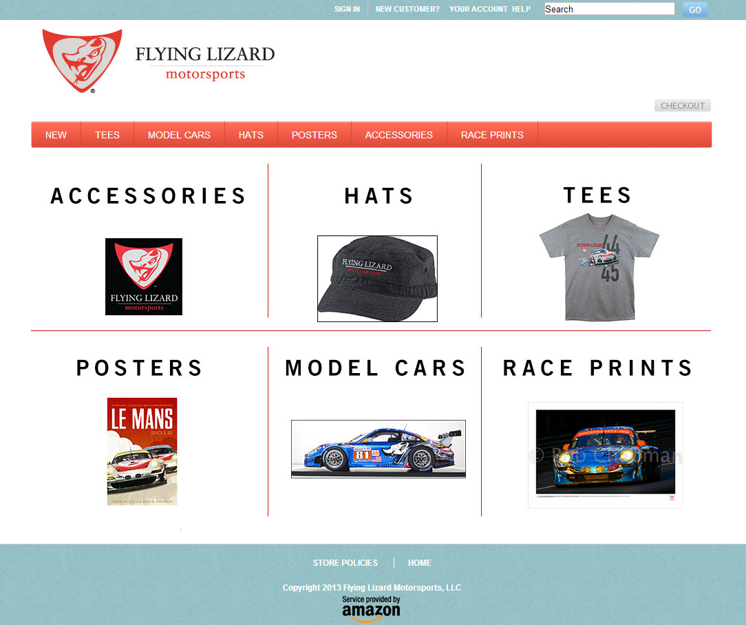 screenshot of front page of an online store