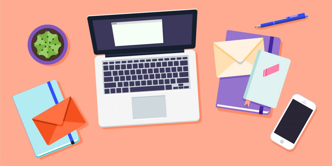 stock illustration of a portable computer and some paper