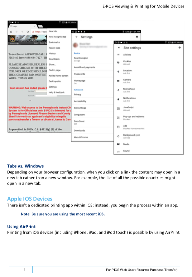 page from manual on settings