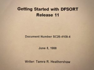 Tight crop of title page for 1988 release of Getting Started software manual for DFSORT. Includes author name and document control number.